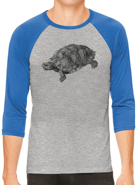 Printed In The Usa Austin Ink Apparel Wood Turtle Illustration Grey Unisex 3 4 Sleeve Baseball Teein Color Grey With Navy Sleeves Size Extra Extra Large