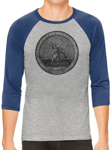 Austin Ink Apparel 1876 Centennial Exposition Grey Unisex 3/4 Sleeve Baseball Tee