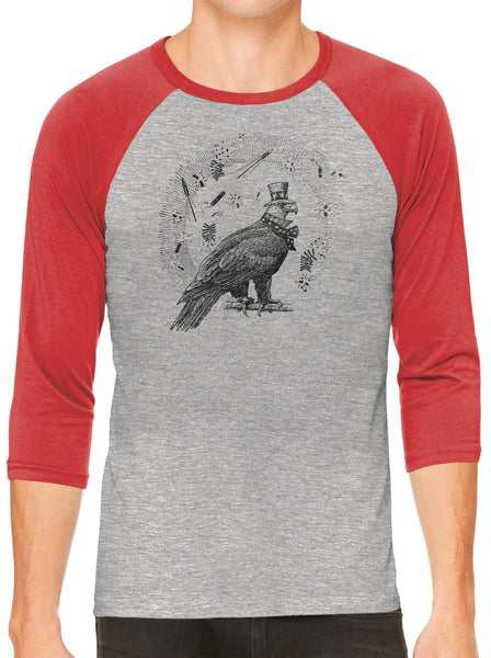 Austin Ink Apparel 4th of July Eagle Grey Unisex 3/4 Sleeve Baseball Tee