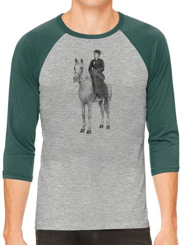 Austin Ink Apparel Woman on Horse Grey Unisex 3/4 Sleeve Baseball Tee
