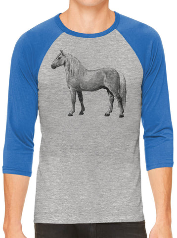 Austin Ink Apparel Albino Horse Grey Unisex 3/4 Sleeve Baseball Tee
