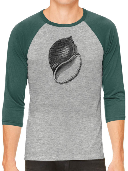 Austin Ink Apparel Antique Shell Grey Unisex 3/4 Sleeve Baseball Tee