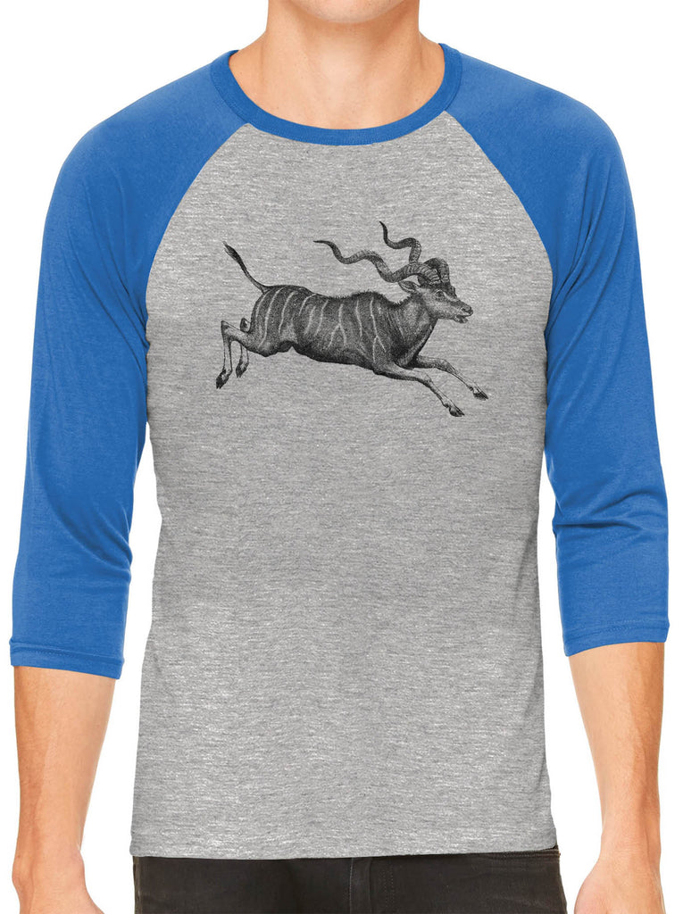 Austin Ink Apparel African Antelope Grey Unisex 3/4 Sleeve Baseball Tee