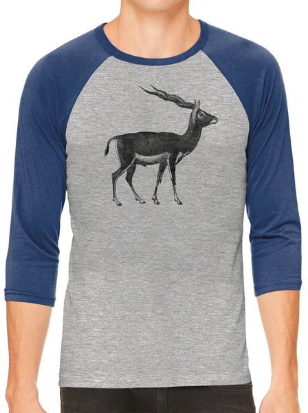 Austin Ink Apparel Antelope Illustration Grey Unisex 3/4 Sleeve Baseball Tee