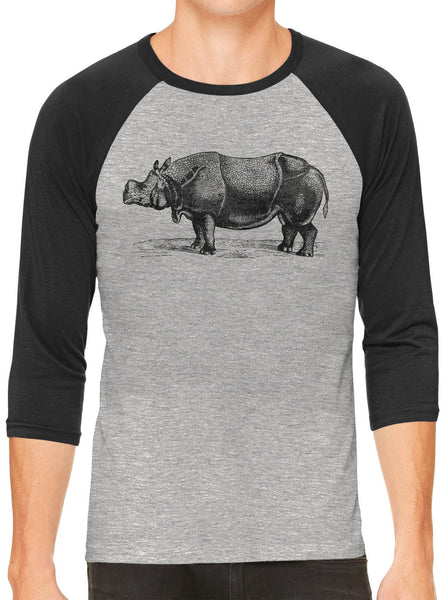 Austin Ink Apparel African Rhinoceros Grey Unisex 3/4 Sleeve Baseball Tee