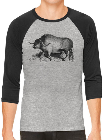 Austin Ink Apparel Yak Illustration Grey Unisex 3/4 Sleeve Baseball Tee