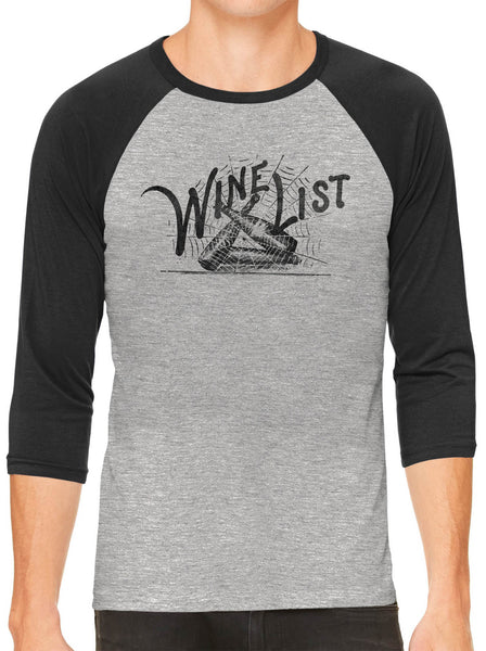 Printed In The Usa Austin Ink Apparel Wine List Web Grey Unisex 3 4 Sleeve Baseball Teein Color Grey With Green Sleeves Size Extra Extra Large