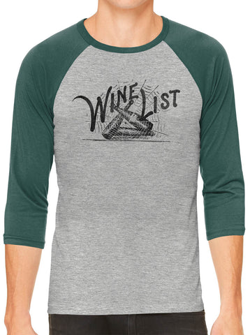 Printed In The Usa Austin Ink Apparel Wine List Web Grey Unisex 3 4 Sleeve Baseball Teein Color Grey With Charcoal Sleeves Size Extra Extra Large