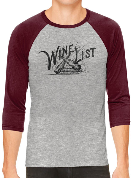 Printed In The Usa Austin Ink Apparel Wine List Web Grey Unisex 3 4 Sleeve Baseball Teein Color Grey With Charcoal Sleeves Size Large