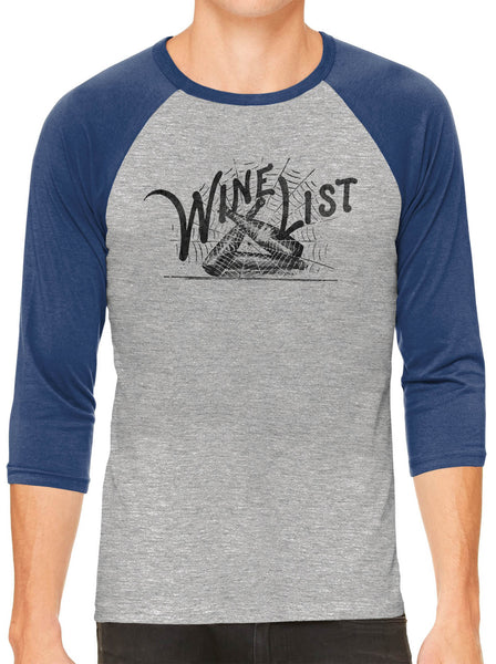 Printed In The Usa Austin Ink Apparel Wine List Web Grey Unisex 3 4 Sleeve Baseball Teein Color Grey With Charcoal Sleeves Size Medium