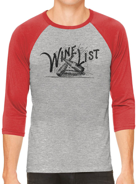 Printed In The Usa Austin Ink Apparel Wine List Web Grey Unisex 3 4 Sleeve Baseball Teein Color Grey With Charcoal Sleeves Size Small