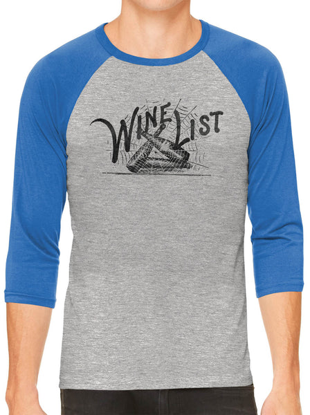 Printed In The Usa Austin Ink Apparel Wine List Web Grey Unisex 3 4 Sleeve Baseball Teein Color Grey With Charcoal Sleeves Size Extra Large