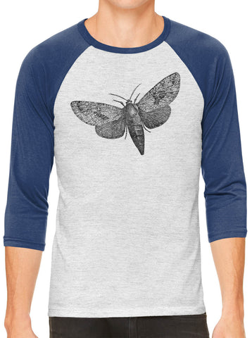 Austin Ink Apparel Wood Borer Moth White Unisex 3/4 Sleeve Baseball Tee