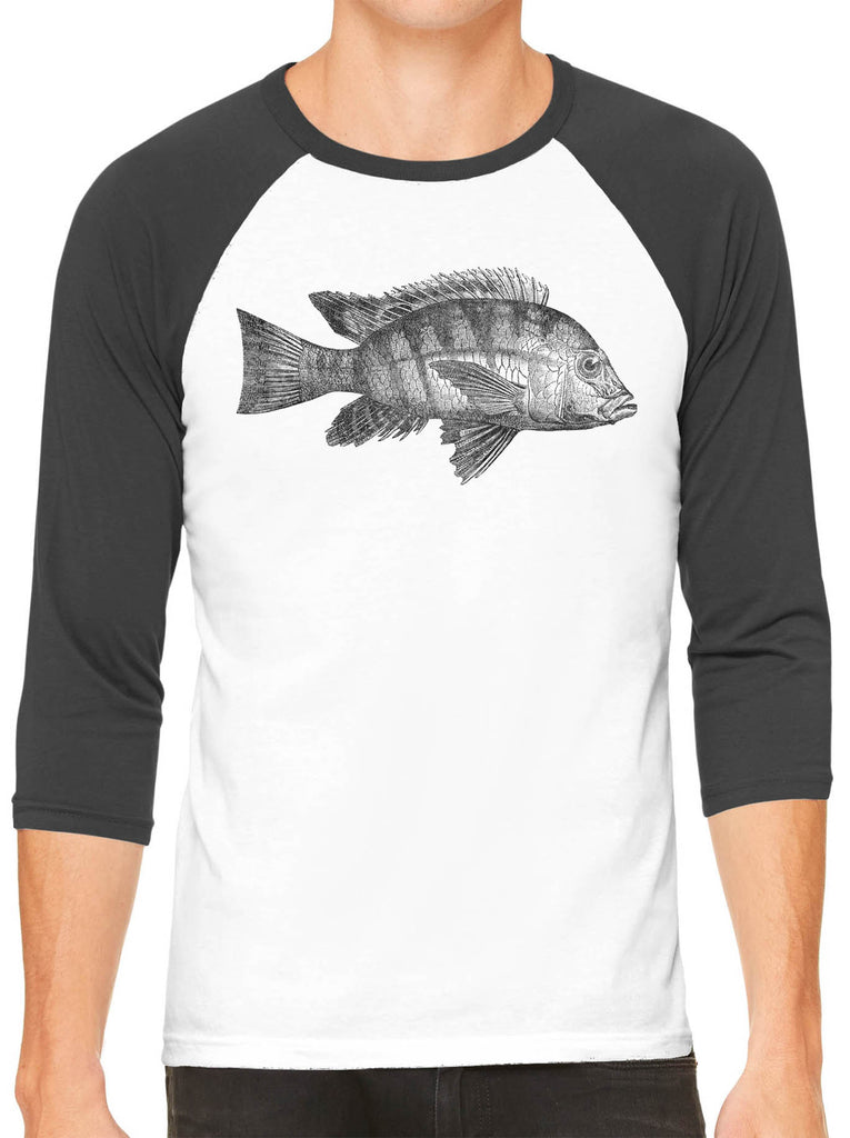 Austin Ink Apparel Atlantic Fish White Unisex 3/4 Sleeve Baseball Tee
