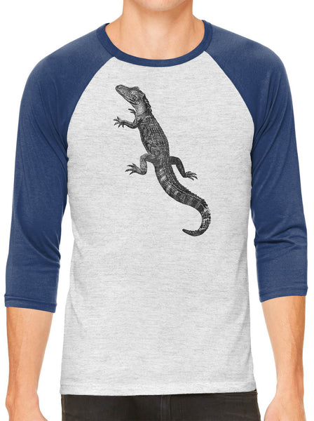 Austin Ink Apparel American Alligator White Unisex 3/4 Sleeve Baseball Tee