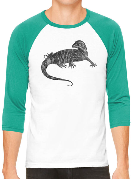 Austin Ink Apparel African Monitor Lizard White Unisex 3/4 Sleeve Baseball Tee