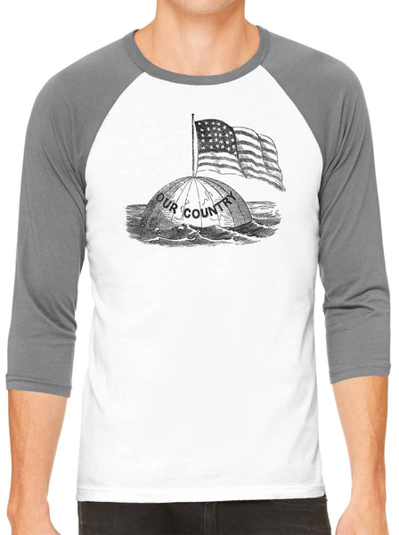 Austin Ink Apparel America on Top of the World White Unisex 3/4 Sleeve Baseball Tee