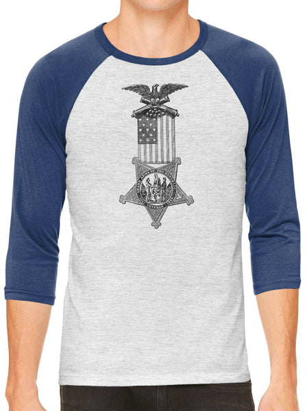 Austin Ink Apparel American Flag Medal White Unisex 3/4 Sleeve Baseball Tee