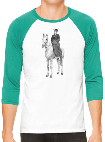 Austin Ink Apparel Woman on Horse White Unisex 3/4 Sleeve Baseball Tee