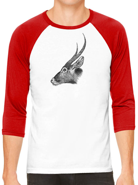 Austin Ink Apparel Antelope Profile White Unisex 3/4 Sleeve Baseball Tee