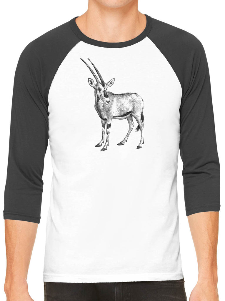 Austin Ink Apparel African Oryx White Unisex 3/4 Sleeve Baseball Tee