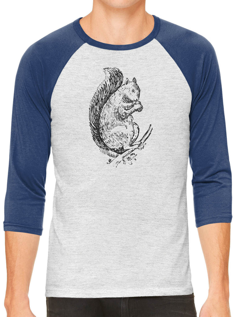 Austin Ink Apparel Acorn Squirrel White Unisex 3/4 Sleeve Baseball Tee