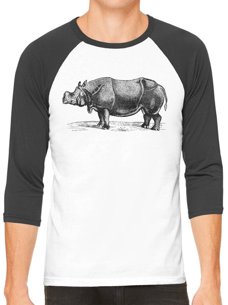 Austin Ink Apparel African Rhinoceros White Unisex 3/4 Sleeve Baseball Tee