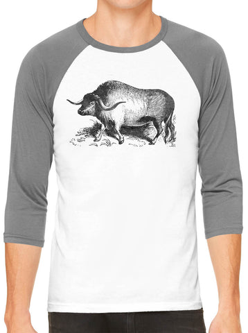 Austin Ink Apparel Yak Illustration White Unisex 3/4 Sleeve Baseball Tee