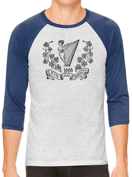 Austin Ink Apparel Allegiance to Ireland White Unisex 3/4 Sleeve Baseball Tee