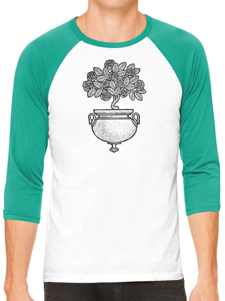 Austin Ink Apparel Art Deco Flowers White Unisex 3/4 Sleeve Baseball Tee