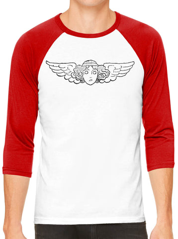 Austin Ink Apparel Winged Face White Unisex 3/4 Sleeve Baseball Tee