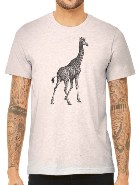 Austin Ink Apparel African Giraffe Quality Triblend Short Sleeve Mens T-Shirt