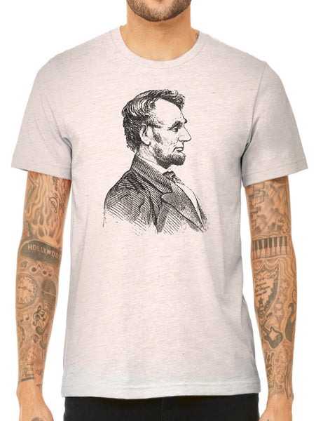 Austin Ink Apparel Abraham Lincoln Quality Triblend Short Sleeve Mens T-Shirt