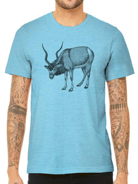 Austin Ink Apparel Antelope Drawing Quality Triblend Short Sleeve Mens T-Shirt