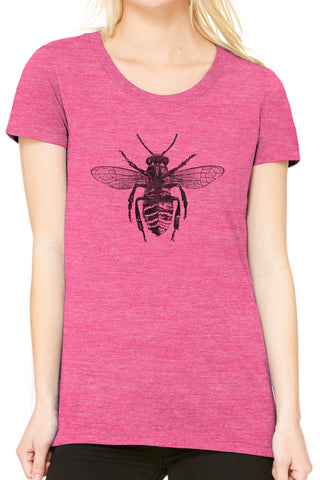 Austin Ink Apparel Honey Bee Fitted Ladies Soft Triblend Short-Sleeve T-Shirt