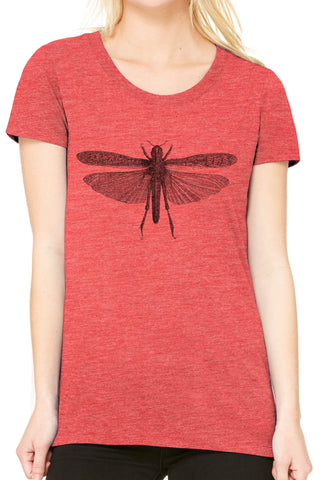Austin Ink Apparel Winged Locust Fitted Ladies Soft Triblend Short-Sleeve T-Shirt