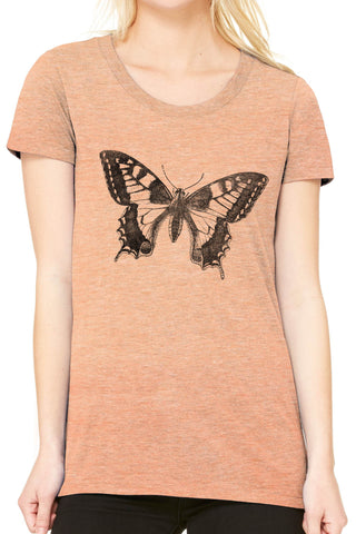 Austin Ink Apparel Swallowtail Butterfly Fitted Ladies Soft Triblend Short-Sleeve T-Shirt