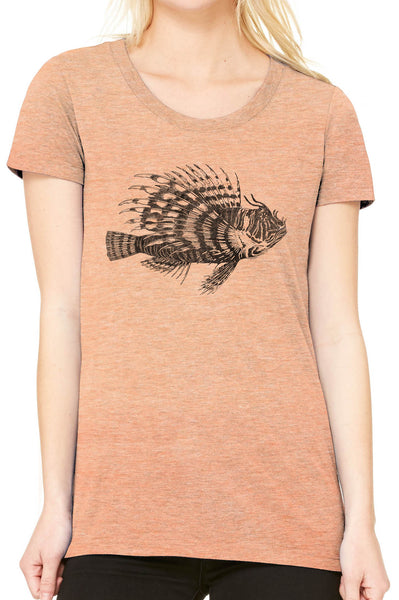 5ffbd37a05c58 Austin Ink Apparel Spiney Lionfish Fitted Ladies Soft Triblend Short-Sleeve  T-Shirt