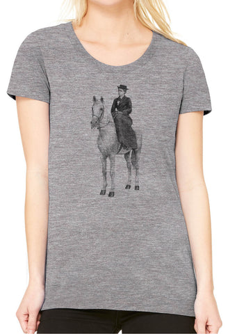 Austin Ink Apparel Woman on Horse Fitted Ladies Soft Triblend Short-Sleeve T-Shirt