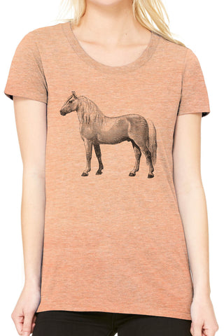 Austin Ink Apparel Albino Horse Fitted Ladies Soft Triblend Short-Sleeve T-Shirt