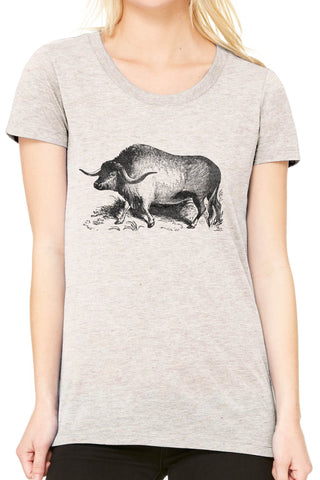 Austin Ink Apparel Yak Illustration Fitted Ladies Soft Triblend Short-Sleeve T-Shirt