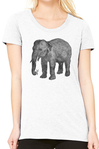 Austin Ink Apparel Wise Elephant and Flower Ladies Triblend Short-Sleeve T-Shirt