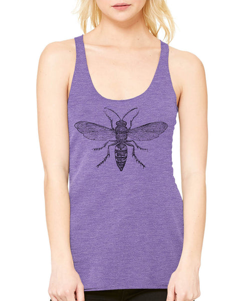 Printed In The Usa Austin Ink Apparel Hornet Diagram Ladies Triblend Racerback Tankin Color Purple Size Extra Extra Large