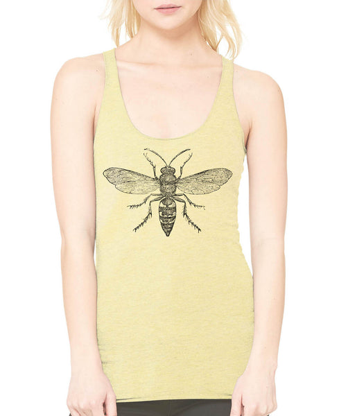 Printed In The Usa Austin Ink Apparel Hornet Diagram Ladies Triblend Racerback Tankin Color Yellow Size Extra Extra Large