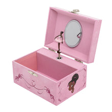 Pink music box, which is open showing a black ballerina figurine inside.