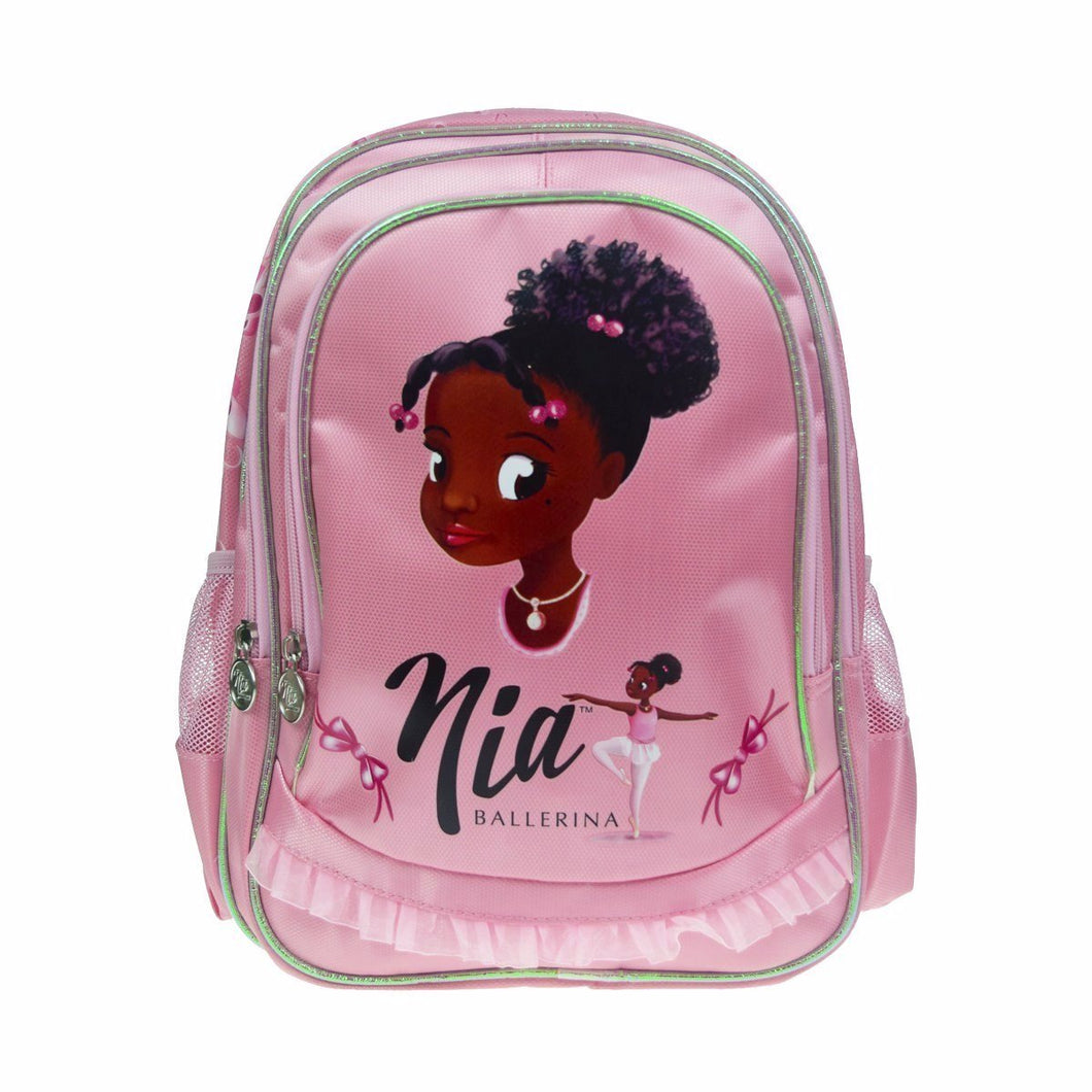 Pink rucksack with a face image of a African American cartoon character with large eyes, and smiling face. Hair is tied up with pink bobbles, and two smaller plaits either side of face. Smaller image of a black ballerina. Rucksack has a lace trim, which makes it look like a tutu.