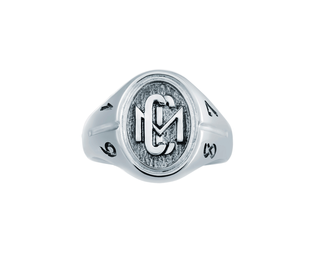 Front view of the Men's 10k White Gold CMC custom design class ring by AMD Originals with engraved 1987 year.