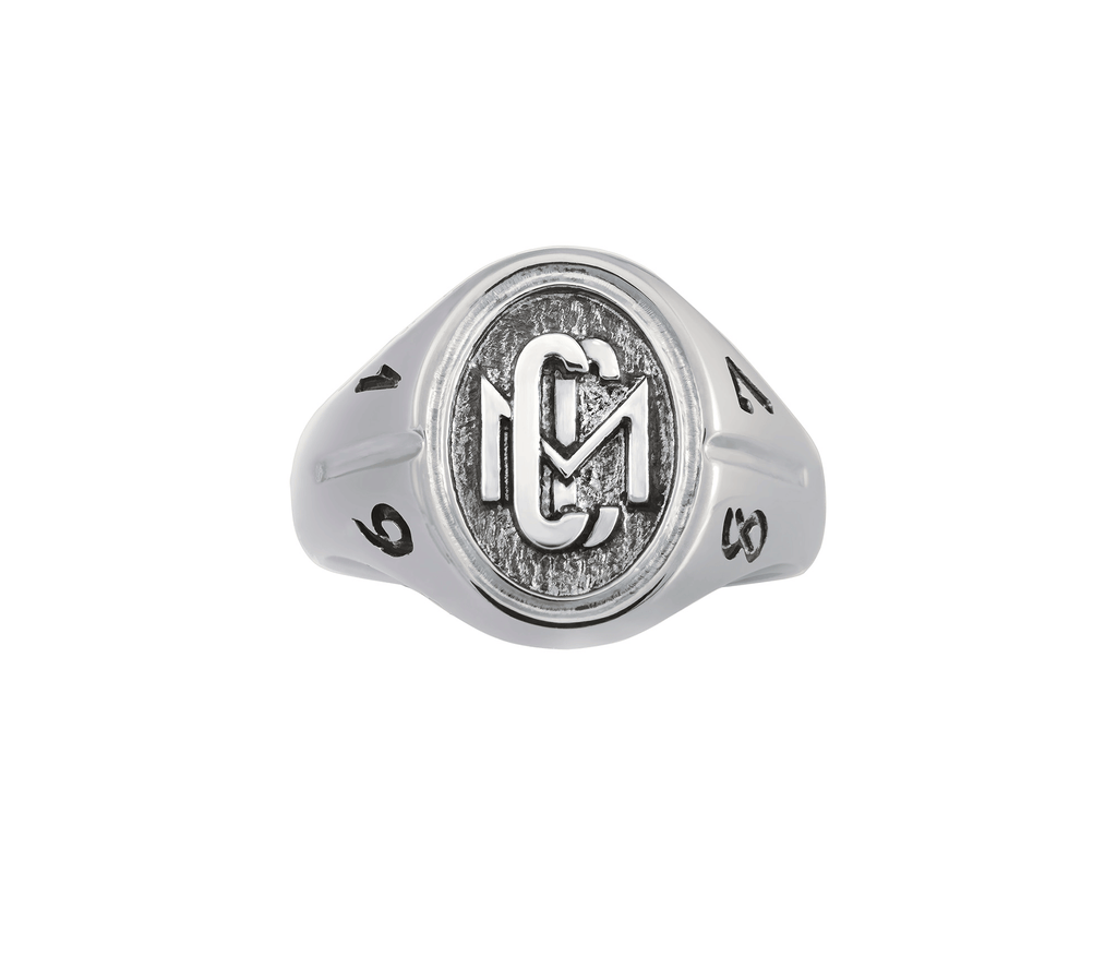 Men's Sterling Silver CMC custom design class ring by AMD Originals with engraved years, front view.