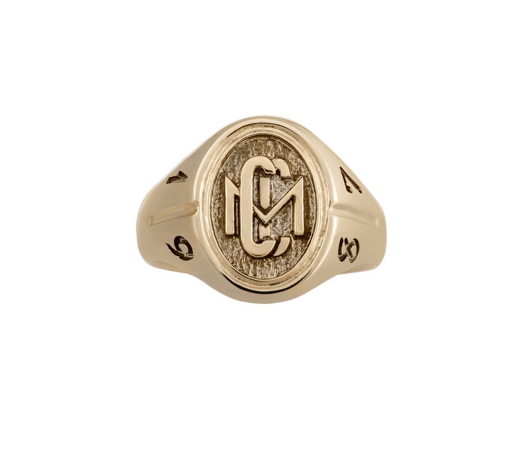 Men's 10k Yellow Gold CMC custom design class ring by AMD Originals with engraved 1987 year, front view.