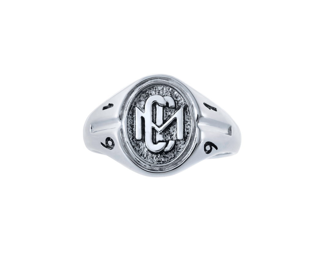 Woman's 10k White Gold CMC custom design class ring by AMD Originals with engraved 1991 year, front view.